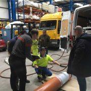 La manga Berolina instalada en una tubería de PVC de 6 metros de longitud y diámetro 300 mm (DN 300).